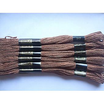 Pack of 6 Trebla Embroidery Thread / Skeins - 8m - Chocolate - Col. 217