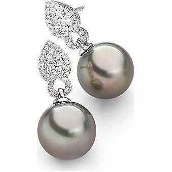 Luna-Pearls - Earrings - White gold 750 Tahiti-Breeding Pearl 10-11 mm