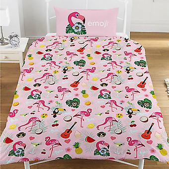 Emoji Official Flamingo Reversible Duvet and Pillowcase Set