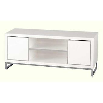 Charisma 2 Door 1 Shelf Flat Screen Tv Unit - White Gloss/chrome