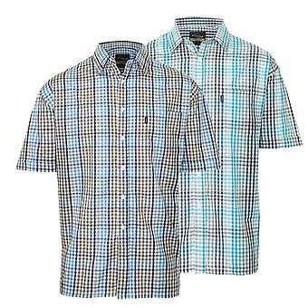2pk Mens Champion Kelso Country Style Casual Check Short Sleeved Shirt