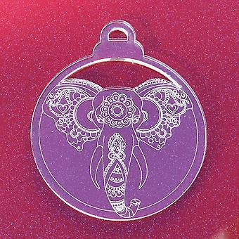 6pk Elephant Head Clear Acrylic Christmas Decorations