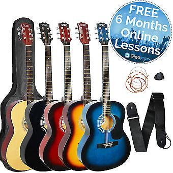 3e avenue taille guitare acoustique Pack avec des leçons de musique en ligne gratuit de 6 mois - disponibles en Sunburst, naturel et bleu