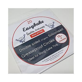Easy Bake Silikonowane Greaseproof Circles Tin Liners - 20 Pack 6&'