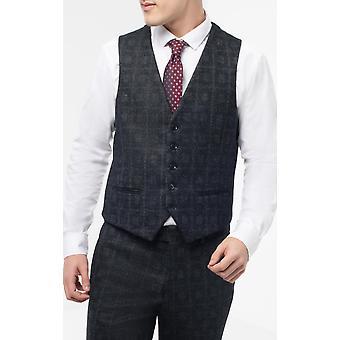 Dobell Mens Black Check Waistcoat Slim Fit 4-Way Stretch