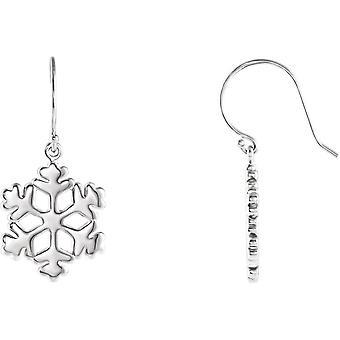 925 Sterling Silver 19.75x15mm Polido Slvr Fashion Tiny Snowflake Brincos Joias Joias Para Mulheres