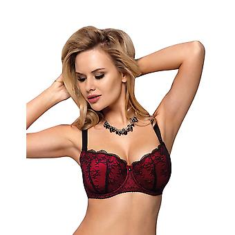 Vena VB-337 Women's Ruby Red Lace Balcony Bra