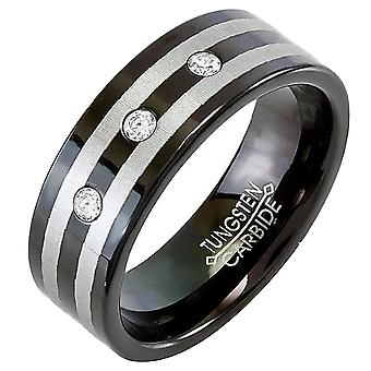 Tungsten Carbide Unisex Ring Wedding Band 8MM (5/16 inch) Black Double Stripe Flat 3 Stone Cubic Zirconia 0.10 CT CZ Comfort Fit