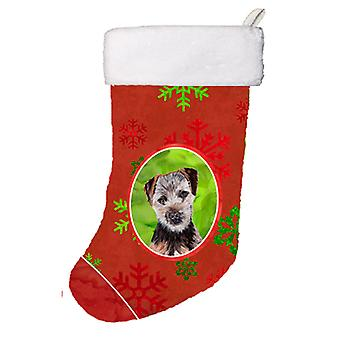 Norfolk Terrier Puppy Red Snowflakes Holiday Christmas Stocking