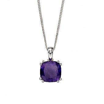 Elements Silver Sterling Silver Amethyst Cushion Pendant P4860M