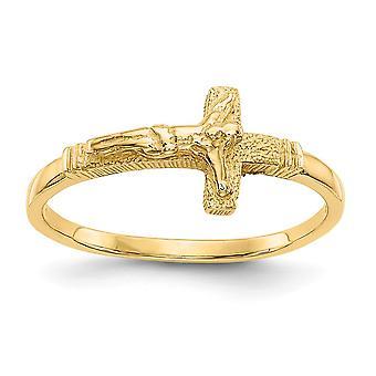 14k Sarı Altın Cilalı Sadan Bitirmek erkek veya kız Crucifix Ring Boyut 3 - 1.2 Gram