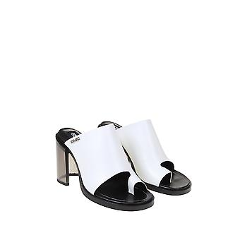 Kenzo Fa52mu011l6601 Sandálias de Couro Branco Femininas'