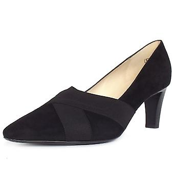 Peter Kaiser Malana Mid Heel Court Shoes In Black Suede