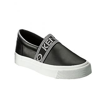 Kenzo F855sn123l5099 Men's Black Leather Slip On Sneakers