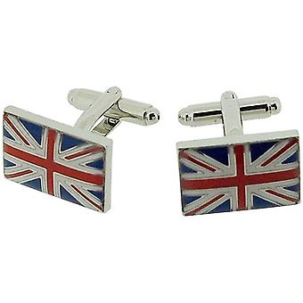 Jakob Strauss Silvertone Union Jack Gents Cufflinks In Presentation Box