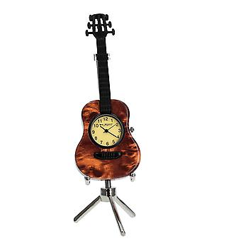 WM Widdop Musicology Miniature Novelty Collectors Clock - Guitar With Stand 9605