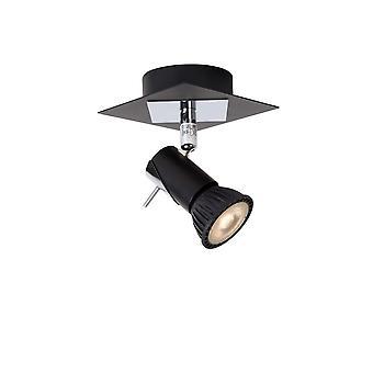 Lucide Brackx-LED Modern Square Metal Black And Chrome Wall Spot Light