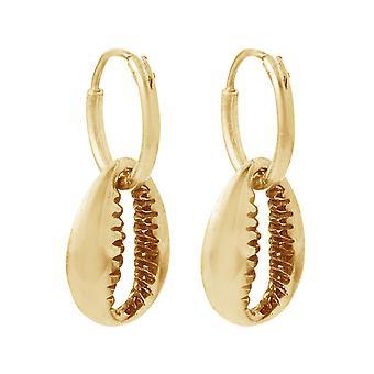Gemshine Maritim brincos Kauri shell hoop brincos 925 prata, banhado a ouro ou rosa