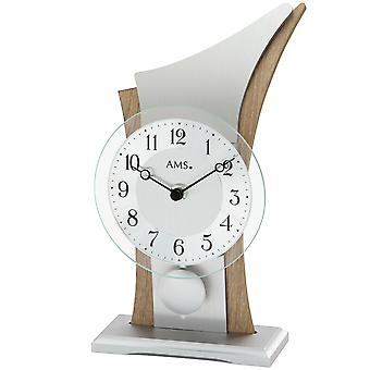 AMS 1139 Table clock Quartz with pendulum silver Sonoma look curved with glass