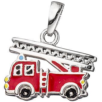 الاطفال مقطورة النار شاحنة حمراء 925 فضة فرقة الاطفاء مقطورة الاطفال
