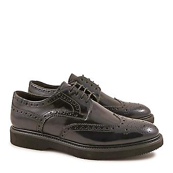 Handmade men's brogue shoes in blue lux leather