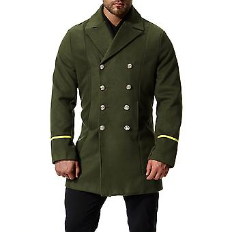 Cloudstyle mannen erwt jas midden lang Double-Breasted militaire Trenchcoat