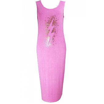 A Postcard from Brighton Stencil Pink Jersey Midi Dress