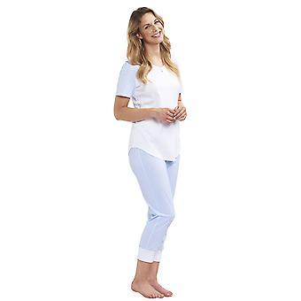 Rösch 1193015-12561 Women's Smart Casual Minimal Pastel Blue Diamond Cotton Pyjama Set