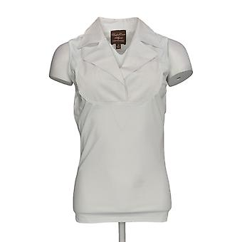 Kathleen Kirkwood Women's Top Dictrac-Ease Notch Collar White A369062