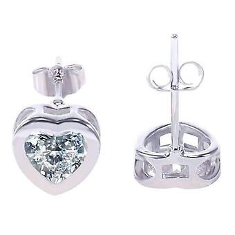 14K white gold plated heart shaped bezel iobi crystals earrings for woman special occasions