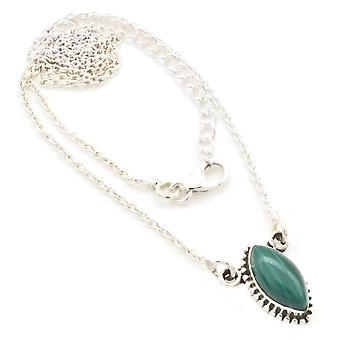 Malachite Necklace 925 Silver Sterling Silver Chain Necklace Green (MCO 11-10)