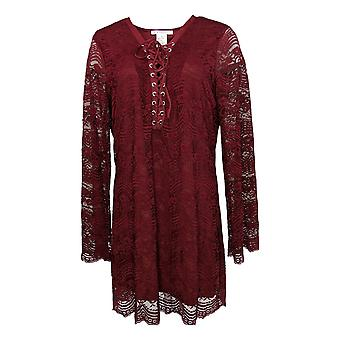 K Jordan Women's Plus Top Lace-Up Tunic Merlot Red