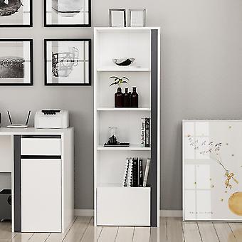Libreria Shae Color Bianco, Antracite in Truciolare Melaminico 50x30x152 cm