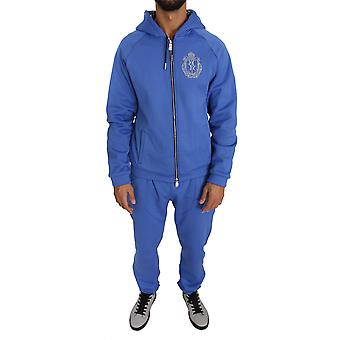 Billionaire Italian Couture Blue Cotton Sweater Two Piece Tracksuit