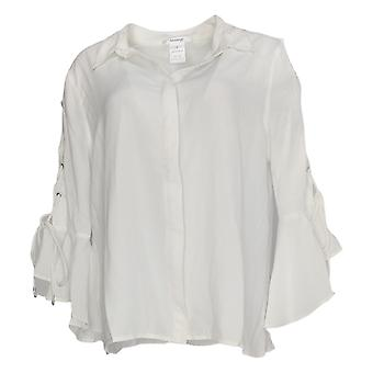 Masseys Women's Top Luxe Lace-Up Ruffled Blouse Wit