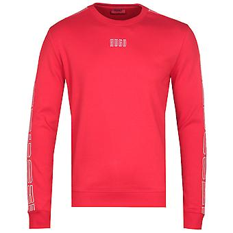 HUGO Doby Contrast Taping Red Crew Neck Sweatshirt