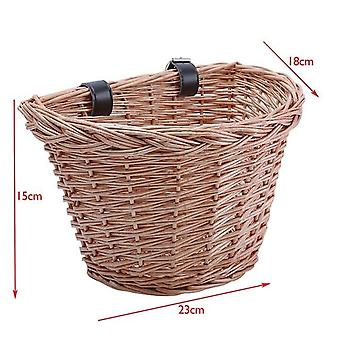 Bike & Bicycle Front Storage Basket With Leather Belt - Handmade Natural Rattan Cargo Container