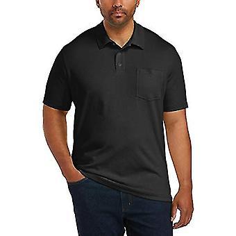 Essentials Men's Big & Tall Jersey Polo Shirt Shirt, -Black, 2XL