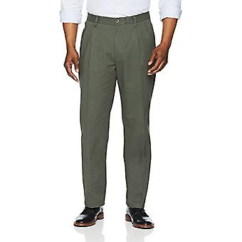 Essentials Men's Classic-Fit Wrinkle-Resistant Pleated Chino Pant, Olive, 42W x 30L