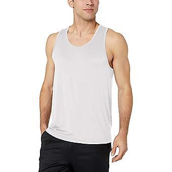 Essentials Men's Tech Stretch Performance Tank Top Shirt, White, X-Large
