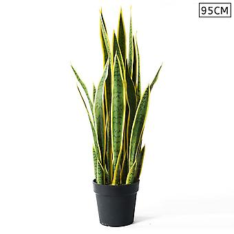 SOGA  Artificial Indoor Yellow Edge Tiger Piran Fake Decoration Plant