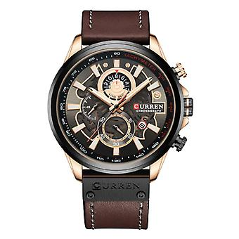Montre Curren Anologue - Leather Strap Luxury Quartz Movement for Men - Stainless Steel - Brown