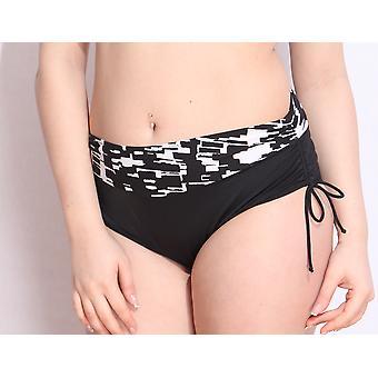 Aqua Perla Womens Lucy SPF50+  Black & White  Bikini Bottom
