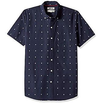 Goodthreads Men's Slim-Fit Dobby Shirt met korte mouwen, -navy anker, Small