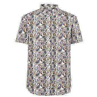 Soviet Mens Paisley Shirt Folded Collar Button Fastening Short Sleeve Top