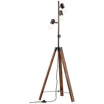 BRILLIANT Lampa Woodhill Golv Lampa 1flg Antik/Svart | 4x A60, E27, 30W, lämplig för normala lampor (ingår ej)