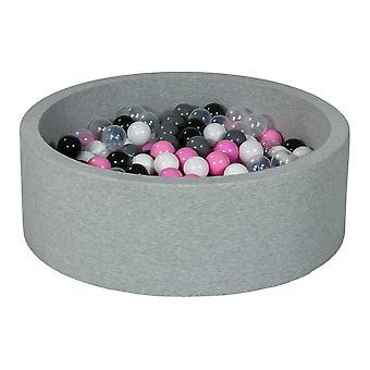 Poço de bola 90 cm com 300 bolas pretas, brancas, transparentes, rosa claro, cinza