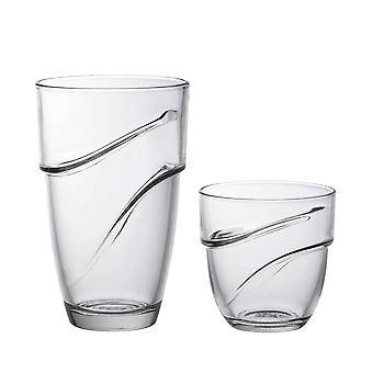 Duralex Wave Stackable Drinking Glasses - 220ml Tumblers, 360ml Highballs - Set of 12