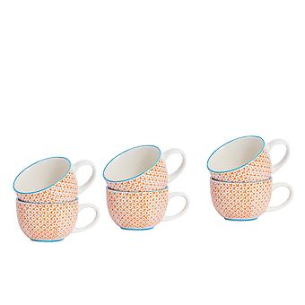Nicola Spring 6 Piece Hand-Printed Cappuccino Cup Set - Japanese Style Porcelain Coffee Teacups - Orange - 250ml