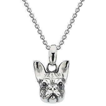 Dew sterling zilver Franse Bulldog hoofd geoxideerde hanger 90557HP024